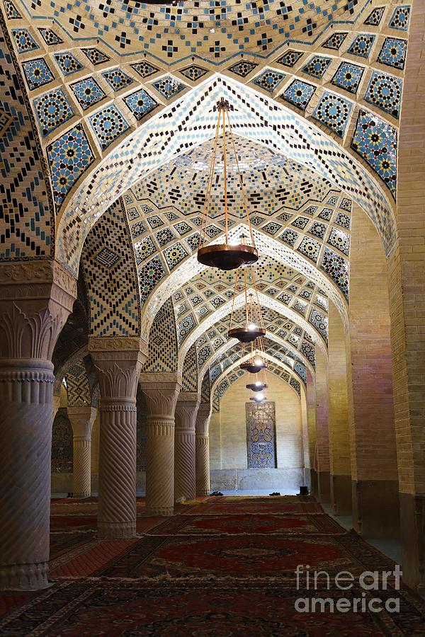 Shiraz Photograph - Interior Of The Winter Prayer Hall Of The Nazir Ul Mulk Mosque At Shiraz In Iran by Robert Preston