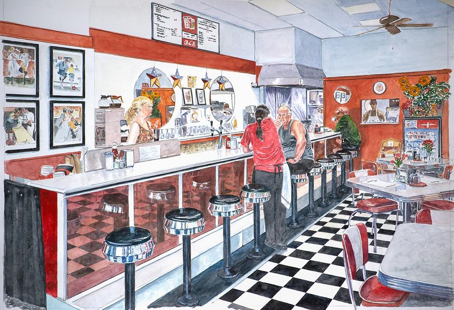 interior soda fountain painting by anthony butera. Black Bedroom Furniture Sets. Home Design Ideas