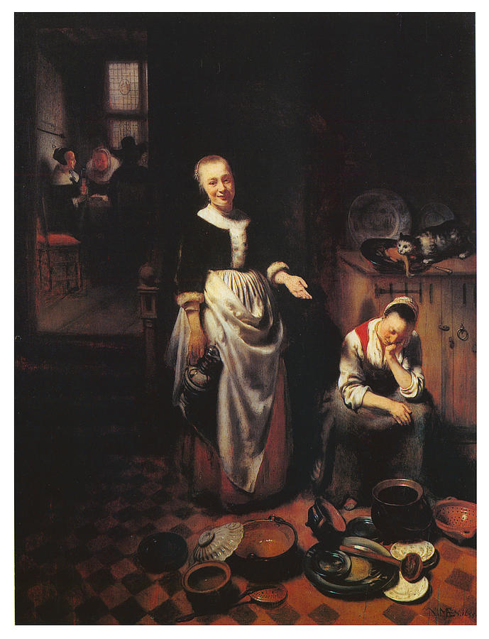 The Idle Servant Painting - Interior With A Sleeping Maid And Her Mistress by Nicolaes Maes
