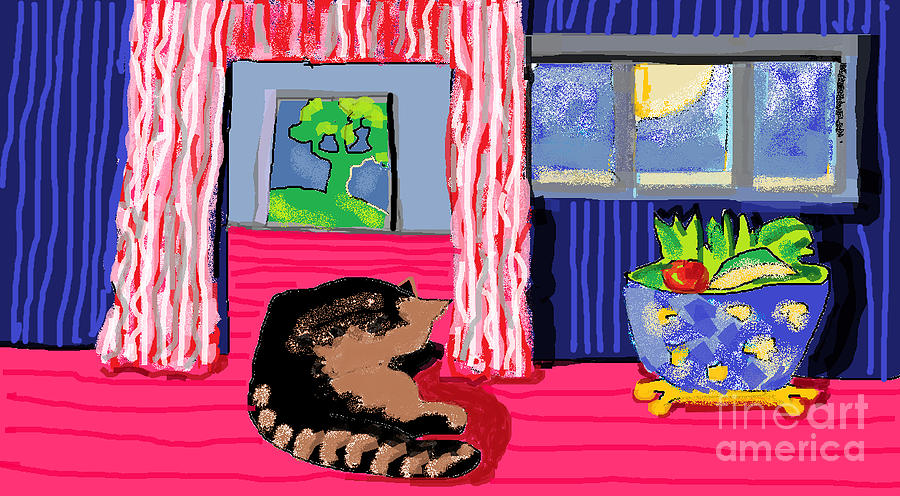 Cat Digital Art - Interior With Cat by Beebe  Barksdale-Bruner