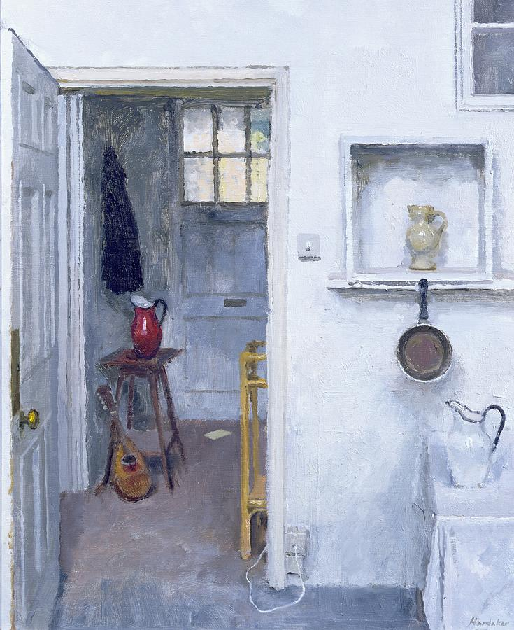 Saucepan; Guitar; Lute; Pitcher; Ewer; Kitchen; Pantry; Domestic; Back Door; Socket; Prise Electrique Painting - Interior With Red Jug by Charles E Hardaker