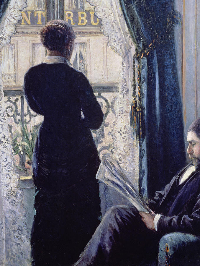 Female; Male; Seated; Reading; Newspaper; Lace Curtains; Parisian; Balcony; Staring; Domestic Scene; Daily Life; Bourgeoisie; Bourgeois; Boredom; Waiting; View Across A Balcony Painting - Interior Woman At The Window by Gustave Caillebotte