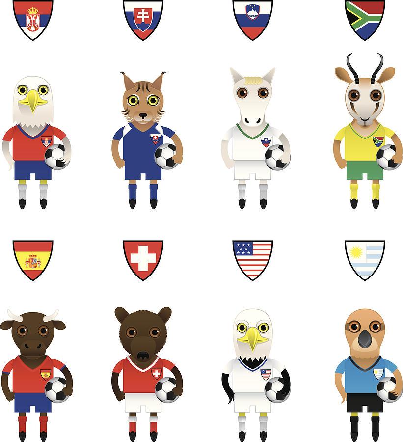 International Football / Soccer Mascot Animal Characters Drawing by Mrsim