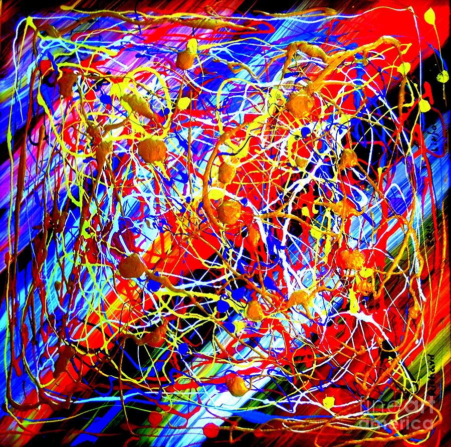 Internet Painting - Internet 3 Tron Virtuosity Matrix Digital World Neural Network Connection by Richard W Linford