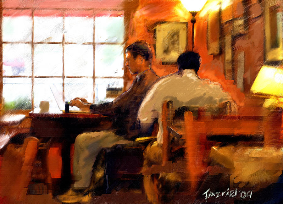 Restaurant Painting - Internet Coffee House by Ted Azriel