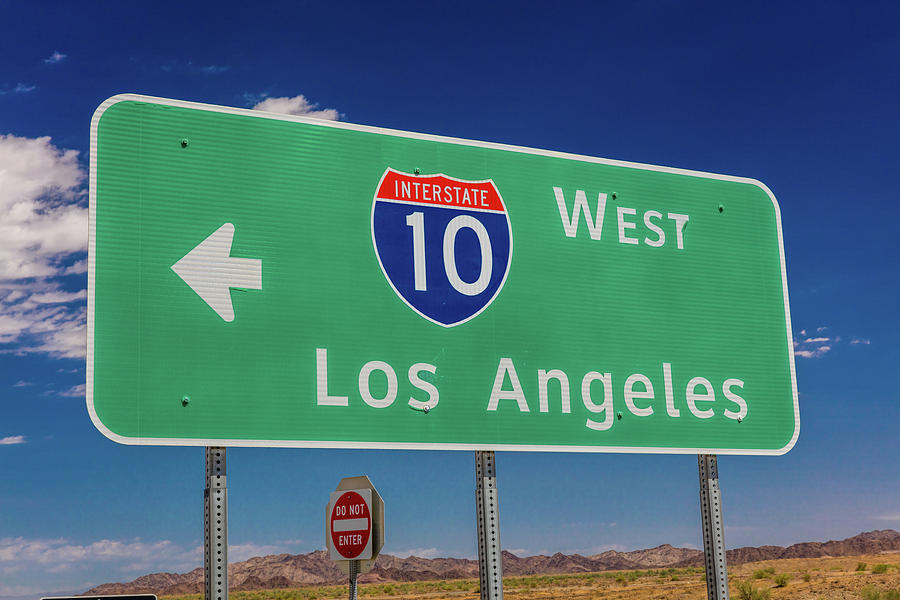 Horizontal Photograph - Interstate 10 Highway Signs by Panoramic Images