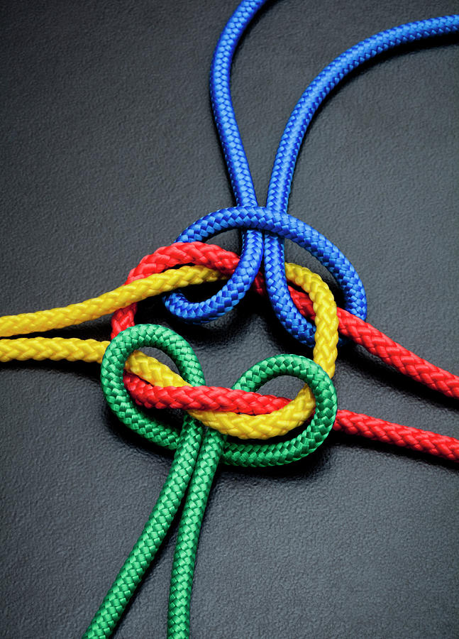 Intertwined Multicolored Ropes Photograph by Jorg Greuel
