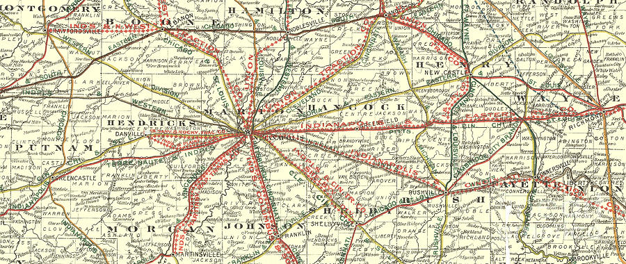 Interurban And Railroad Map Indianapolis Indiana Mixed Media by