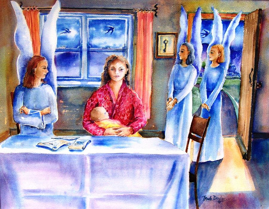 Guardian Angel Painting - Interview For A Guardian Angel  by Trudi Doyle