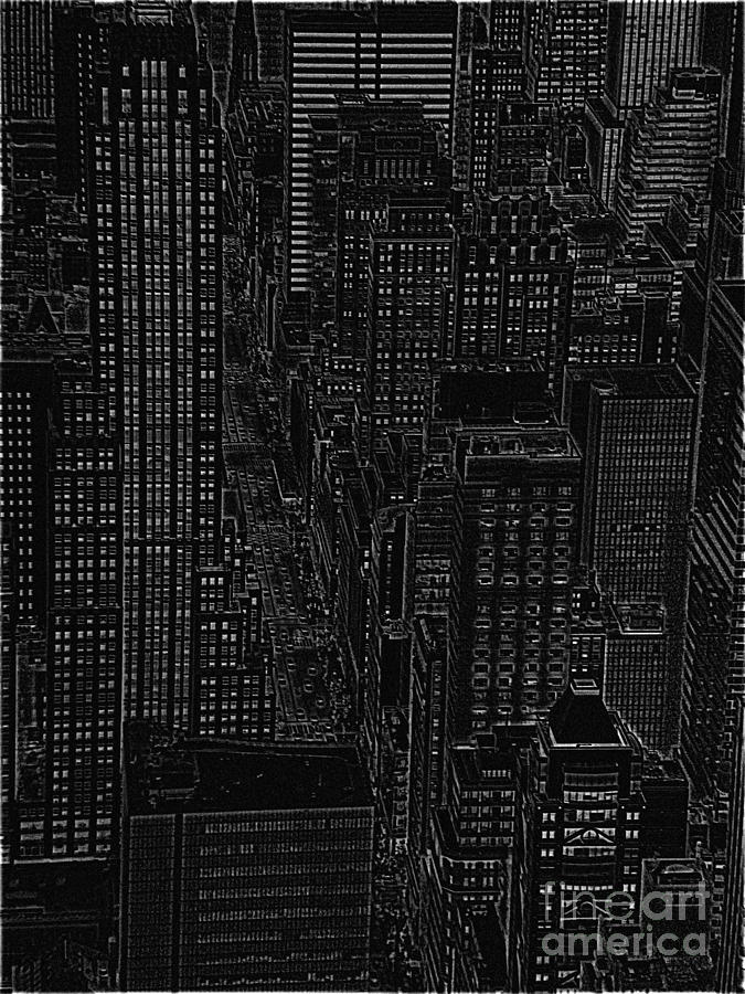 Nyc Drawing - Into Nyc White On Black by Meandering Photography