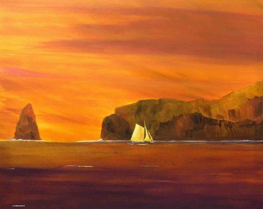 Oil Painting Painting - Into Smugglers Cove by Jim Christley