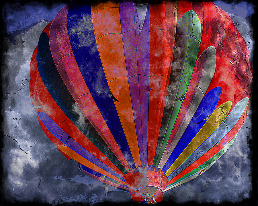 Hot Air Balloon Digital Art - Into The Chiseled Mist by Ken Evans