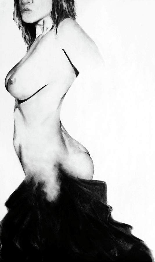 Nude Drawing - Into The Darkness by Corina Bishop
