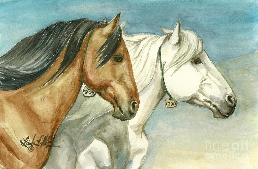 Wild Horses Painting - Into The Light  by Linda L Martin