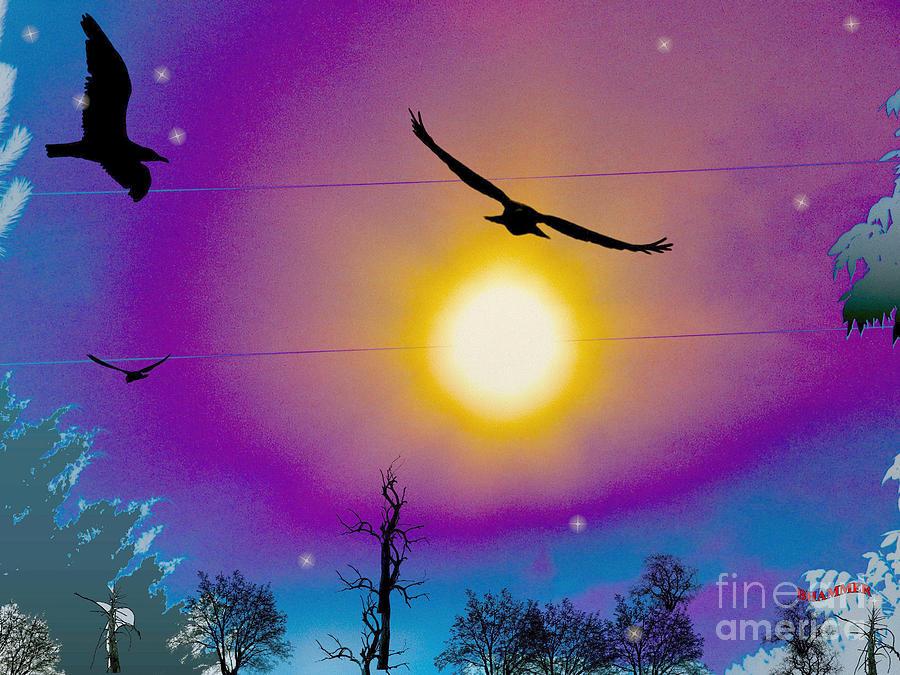 Birds Mixed Media - Into The Sun by Bobby Hammerstone