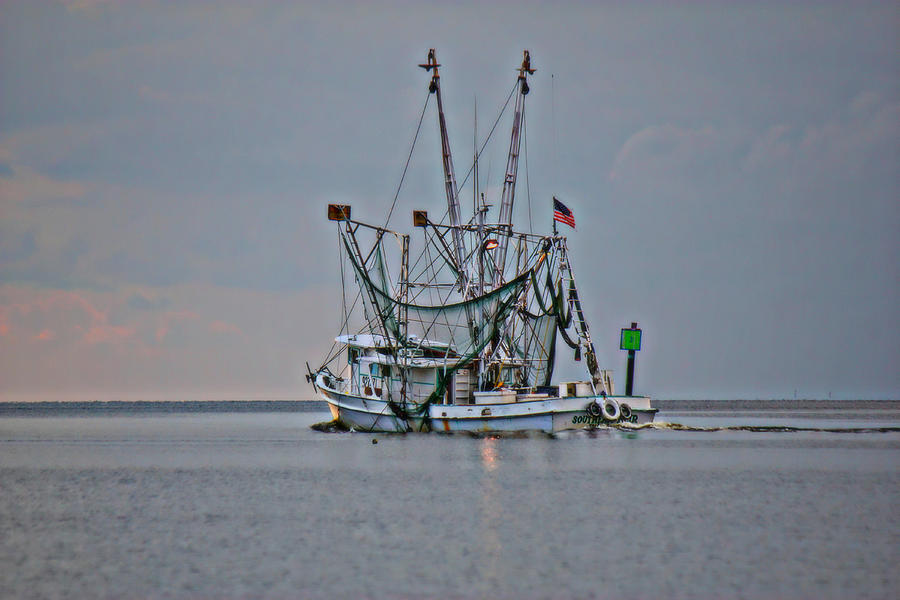 Shrimp Boat Photograph - Into The Sunset by Lynn Jordan
