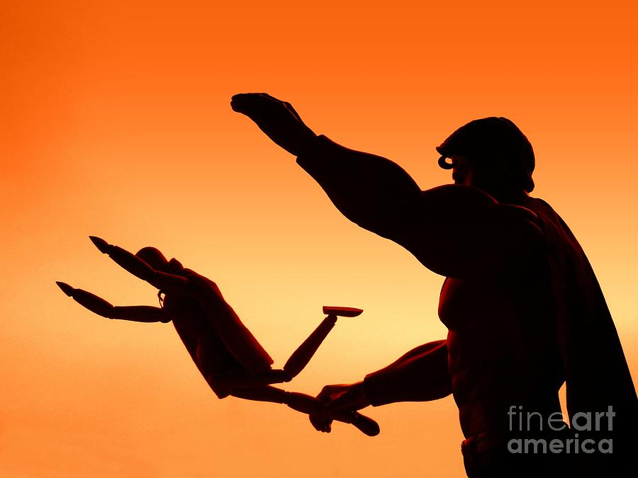 Superman Photograph - Into The Sunset by Renee Trenholm