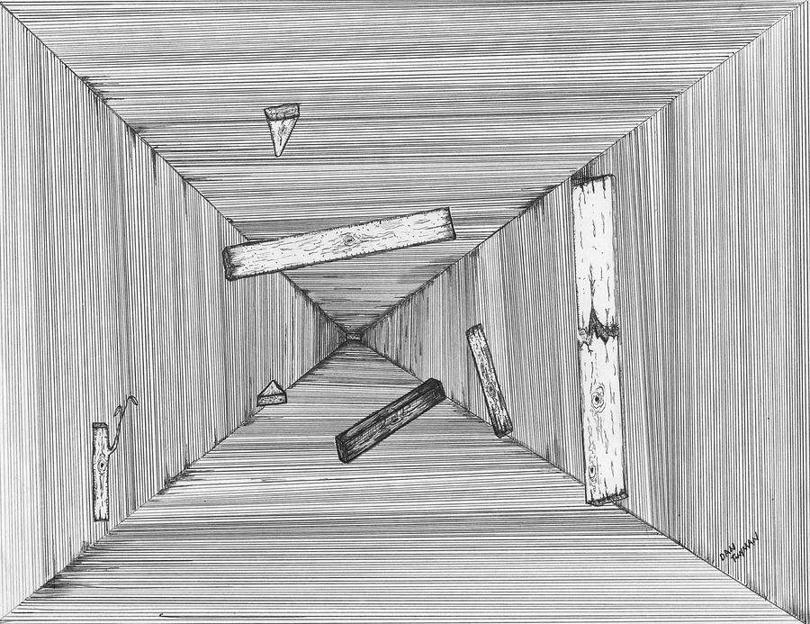 Surreal Drawing Drawing - Into The Void by Dan Twyman