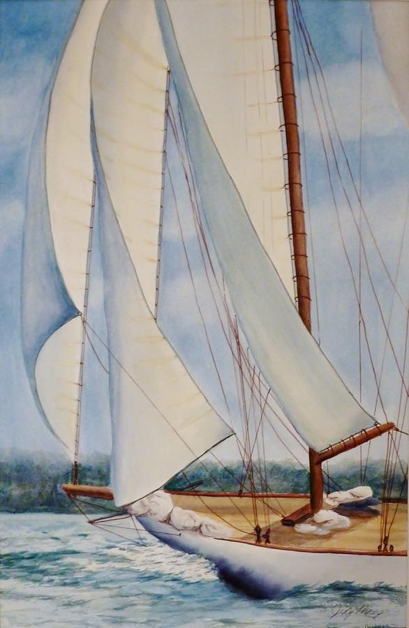Seascape Painting - Into The Wind by Judy Meng