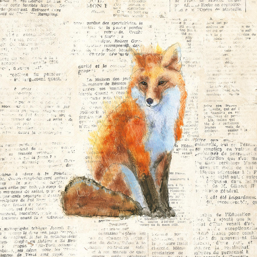 Animal Painting - Into The Woods Iv No Border by Emily Adams