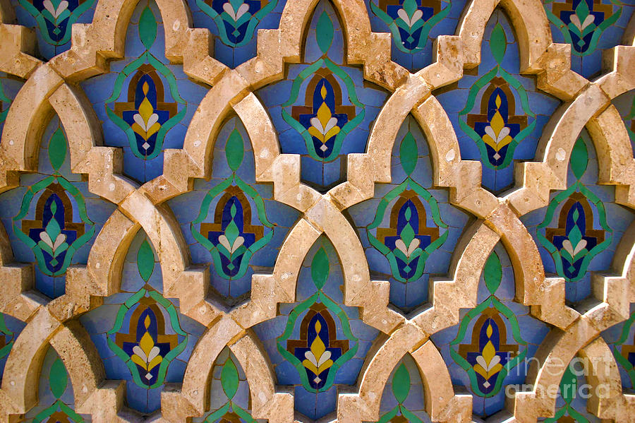 Mosaic Photograph - Intricate Zelji at the Hassan II Mosque Sour Jdid Casablanca Morocco by PIXELS  XPOSED Ralph A Ledergerber Photography