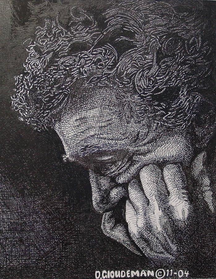 Portraiture Drawing - Introspection by Denis Gloudeman