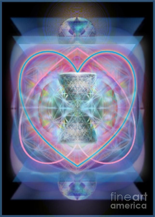 5x7 Digital Art - Intwined Hearts Chalice Wings Of Vortexes Radiant Deep Synthesis by Christopher Pringer