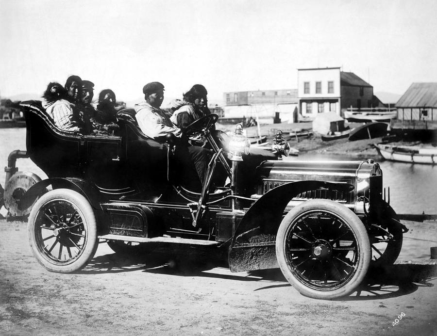 1906 Photograph - Inuits In Car, C1906 by Granger