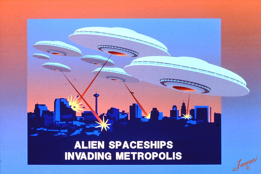 Astrodome Digital Art - Invading Metropolis Poster by Charles Fennen