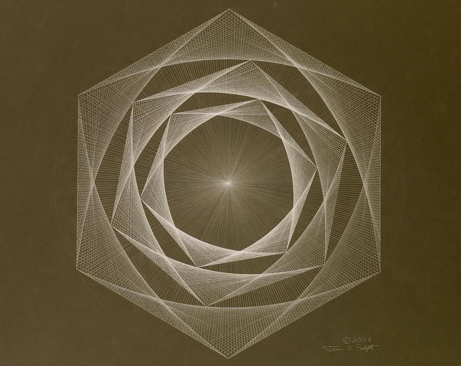 Drawing Drawing - Inverted Energy Spiral by Jason Padgett