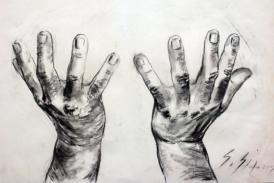 Hands Drawing - Invocation by Sefedin Stafa