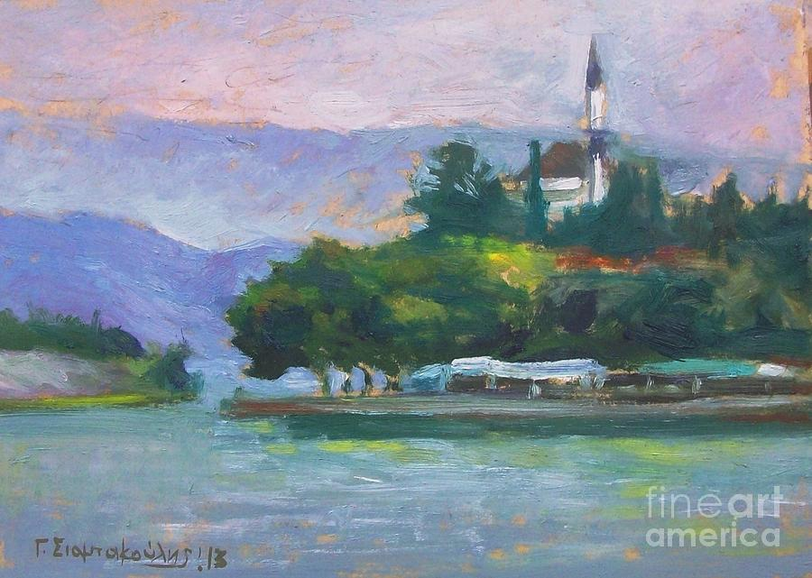 Ioannina Lake Painting by George Siaba