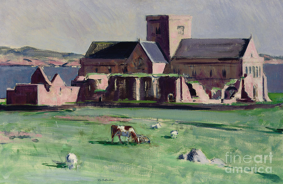Cadell Painting - Iona Abbey From The Northwest by Francis Campbell Boileau Cadell