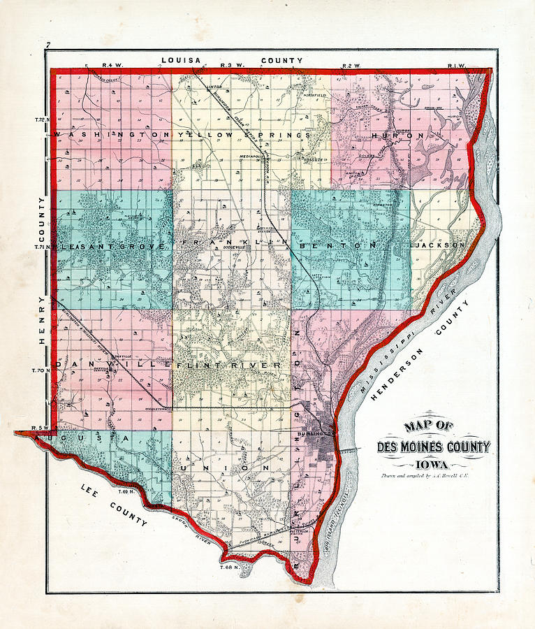 Iowa, 1873, County Map, Des Moines County by Historic Map Works LLC