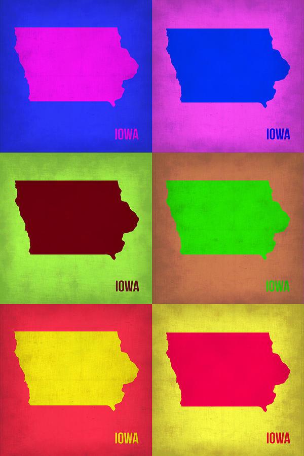 Iowa Painting - Iowa Pop Art Map 2 by Naxart Studio