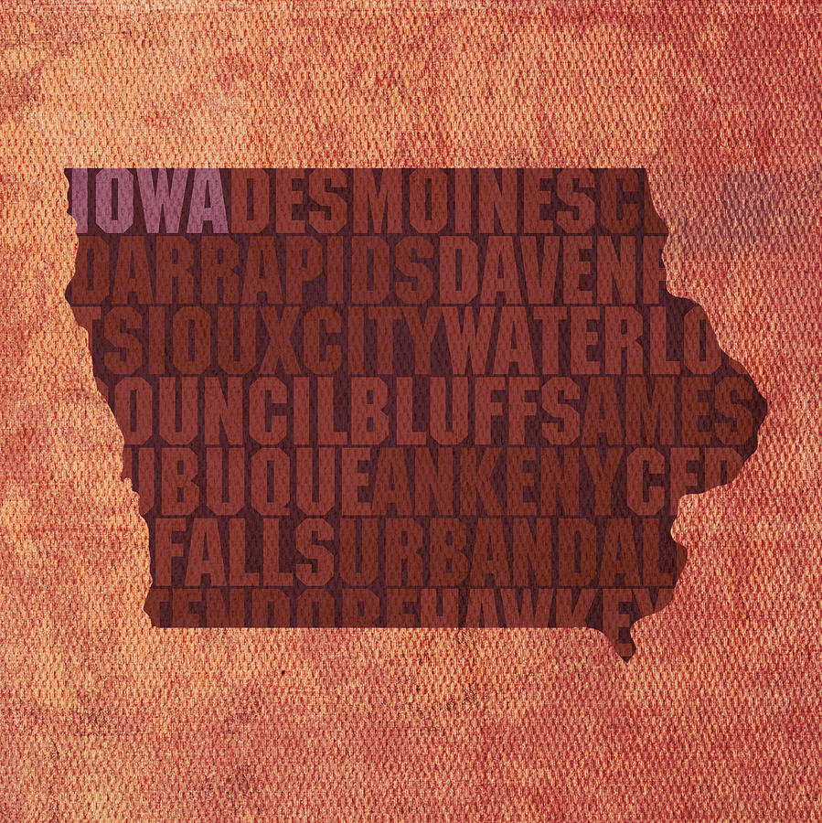 Iowa Word Art State Map On Canvas Mixed Media by Design Turnpike