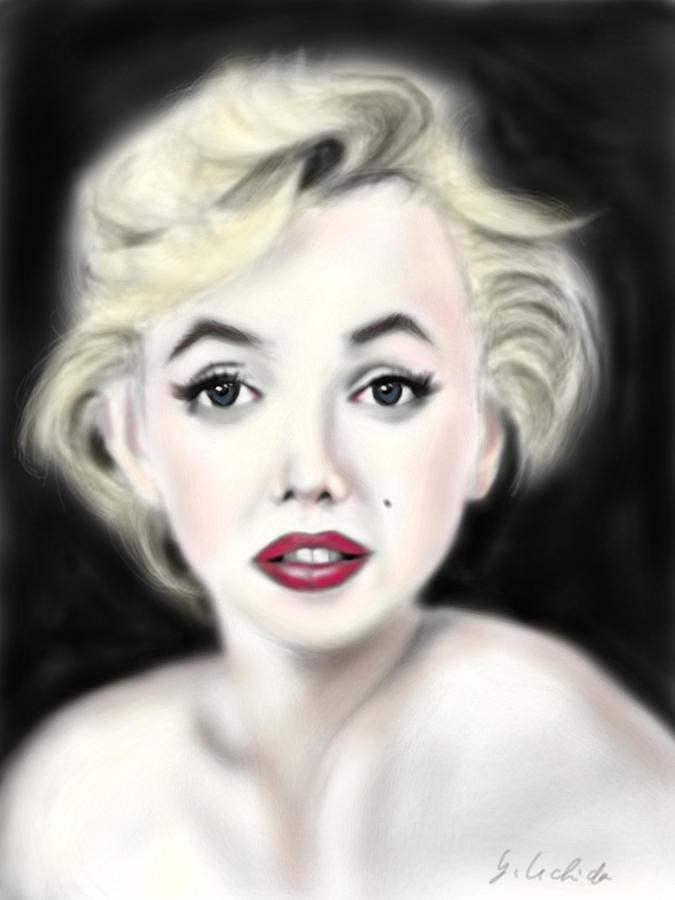 Ipad Painting - iPad Portrait Marilyn by Yoshiyuki Uchida