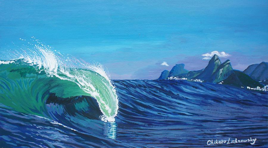Wave Painting - Ipanema Beach by Chikako Hashimoto Lichnowsky