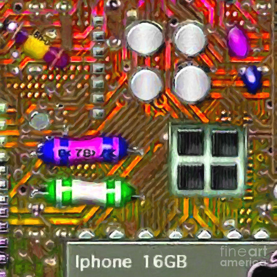 Circuit Board Photograph - Iphone I-art M118 Square by Wingsdomain Art and Photography