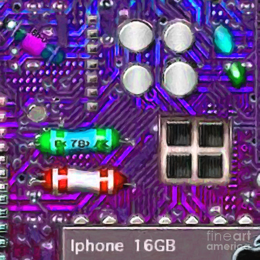 Circuit Board Photograph - Iphone I-art P128 Square by Wingsdomain Art and Photography