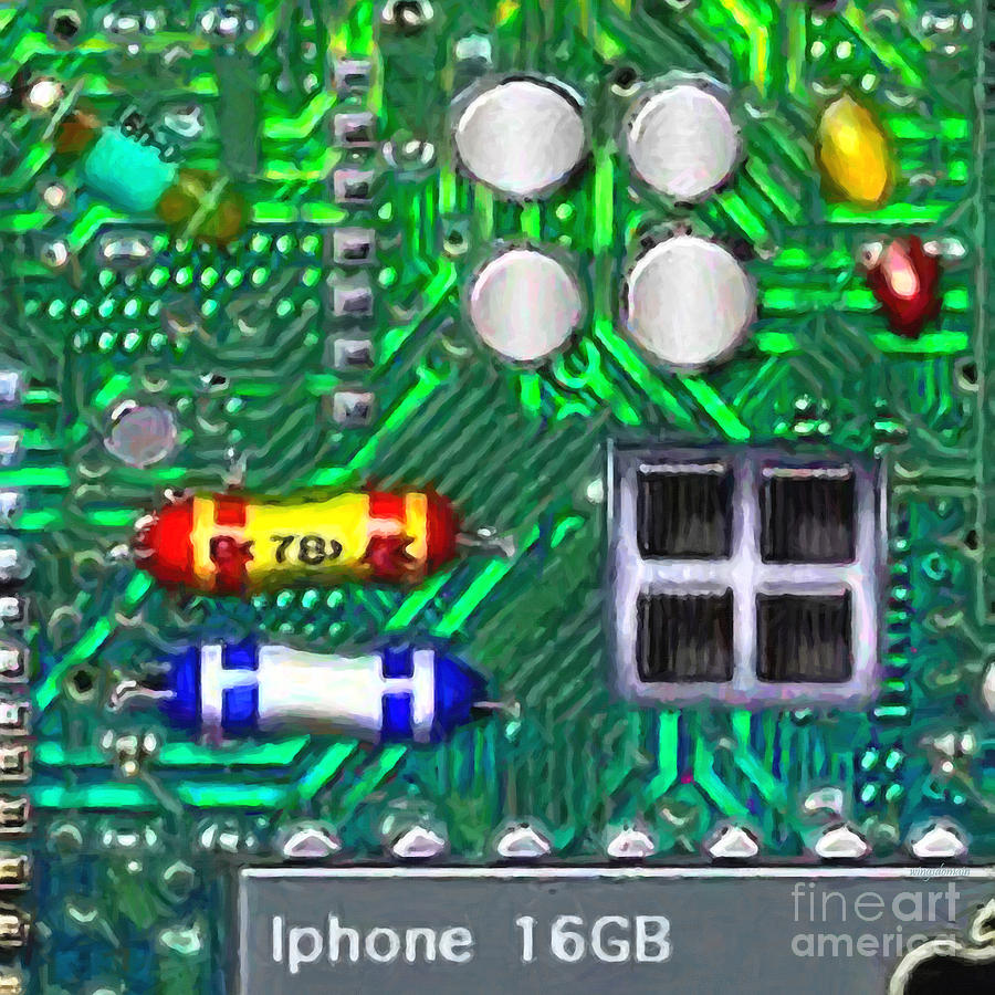 Circuit Board Photograph - Iphone I-art Square by Wingsdomain Art and Photography