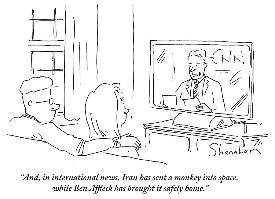 Cartoon Drawing - Iran Has Sent A Monkey Into Space by Danny Shanahan