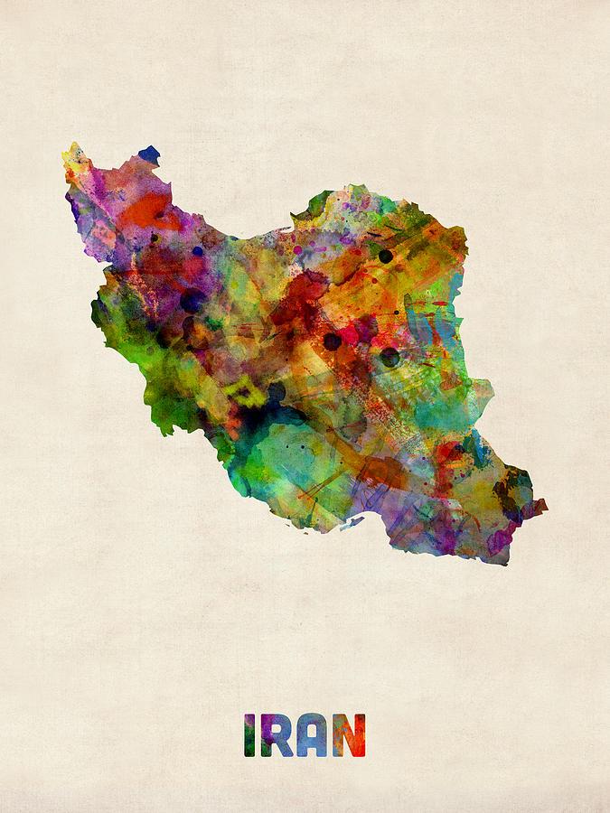 Watercolour Digital Art - Iran Watercolor Map by Michael Tompsett