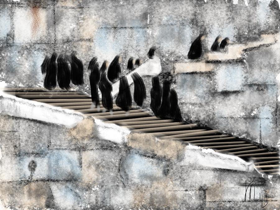 Iran Women Visiting Persepolis Painting by Lois Ivancin Tavaf  Iran Women Visi...
