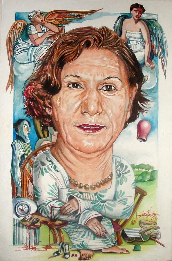 Portrait Painting - Iraqi Artist Afefah Loabi by Haydar Al-yasiry