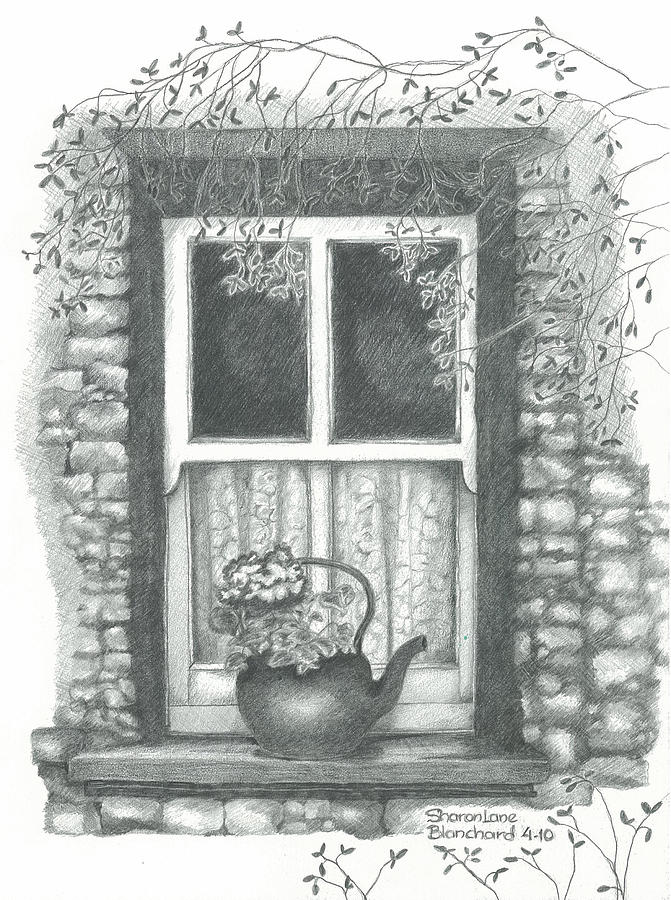 Ireland cottage window drawing by sharon blanchard for Window design sketch