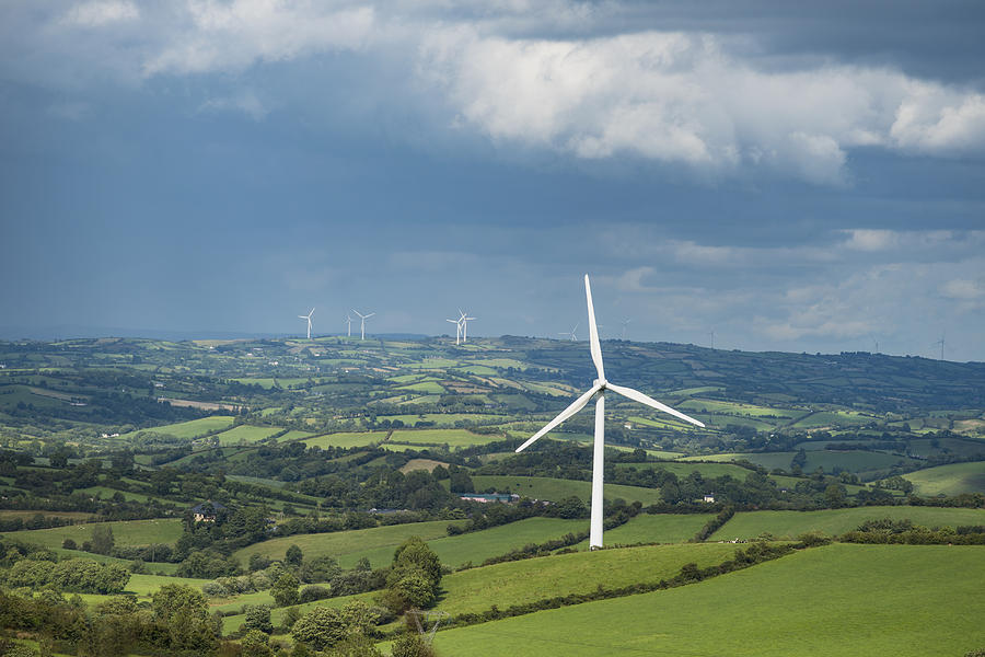Ireland, County Cavan, Landscape with wind turbines Photograph by Dermot Conlan