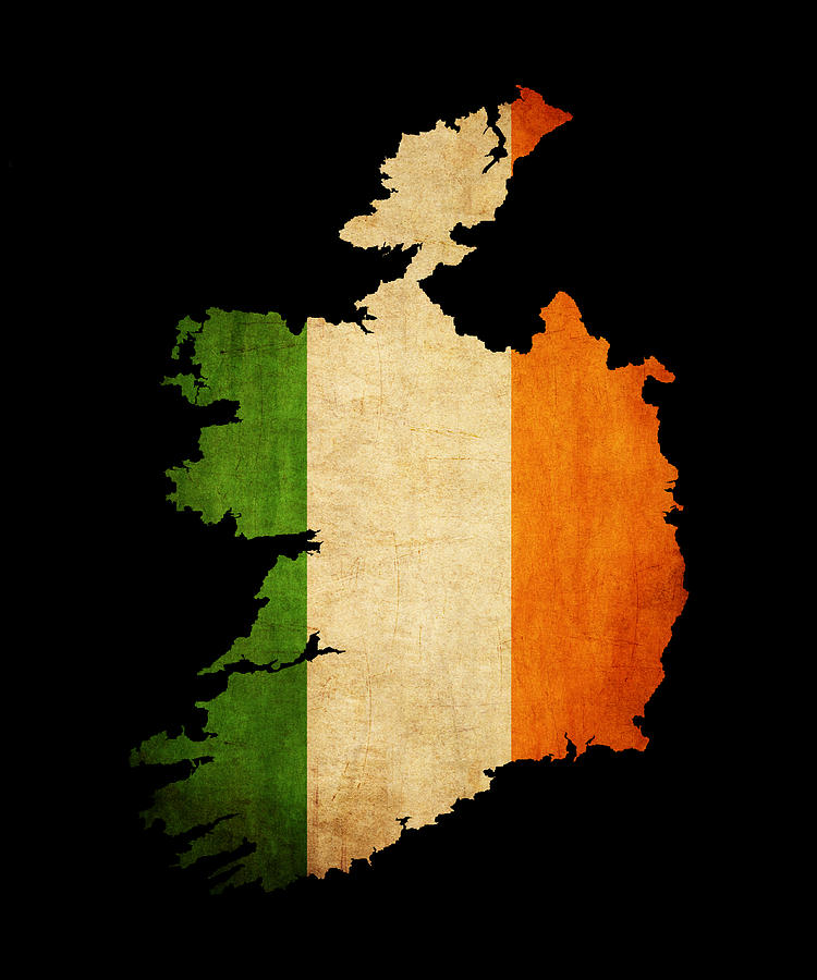 Ireland Grunge Map Outline With Flag Photograph By Matthew