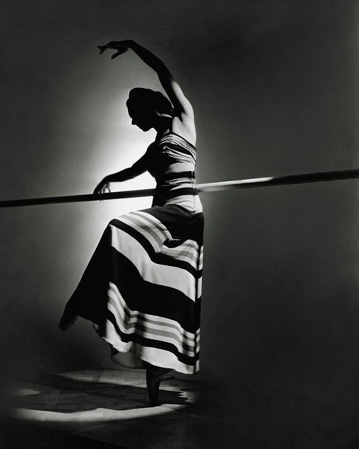 Irina Baronova Wearing A Stripes Photograph by Horst P. Horst