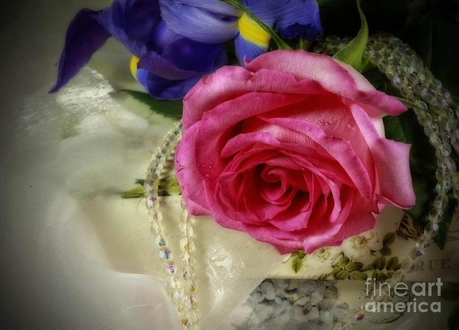 Iris Photograph - Iris And Rose On Vintage Treasure Box by Inspired Nature Photography Fine Art Photography